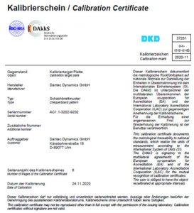 Certificate of target calibration
